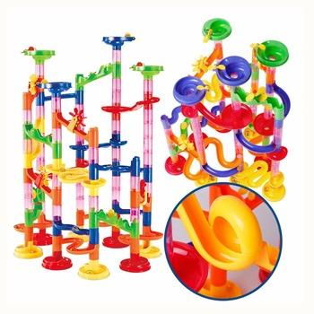 Marmur Race Run labirynt piłki utwór DIY budowa klocki lejek slajdów duży budynek cegła kompatybilny duploed tanie i dobre opinie Haifeng Transport Z tworzywa sztucznego 2-4 lat 5-7 lat Marble Run Maze Building Balls Track