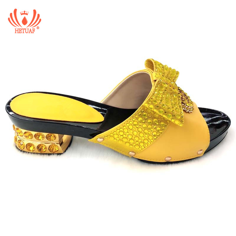 Italian Shoes Sandals Matching-Set Nigerian Low-Heels Wedding Without-Bag Novelty Yellow