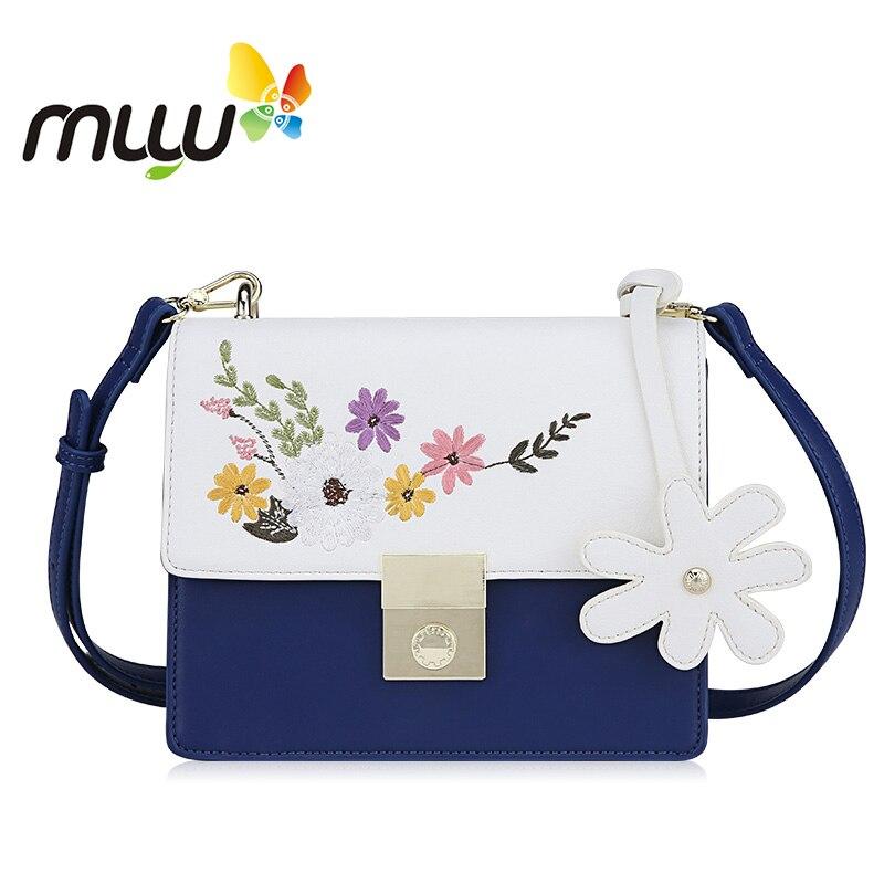 Muyu 2018 Floral Embroidery Hasp Shoulder Bag Soft PU Casual Adjustable Crossbody Bag Flap Ladies Handbag pu leather front zip floral shoulder bag