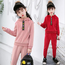Korean version new childrens clothing winter baby girl sport Gold velvet hoodies coat + pants sets kids clothes two piece 6-16y
