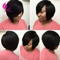 7A Layered Virgin Human Hair Short Bob Wig For Black Women Glueless Lace Front Human Hair Bob Wigs With Side Bangs Freeshiping