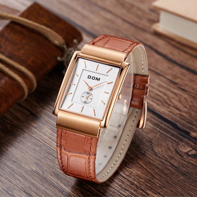 DOM Women Watches Classic Retro Belt Watch Business Top Brand Luxury Ladies Watch Rectangle Quartz Clock Relogio Feminino