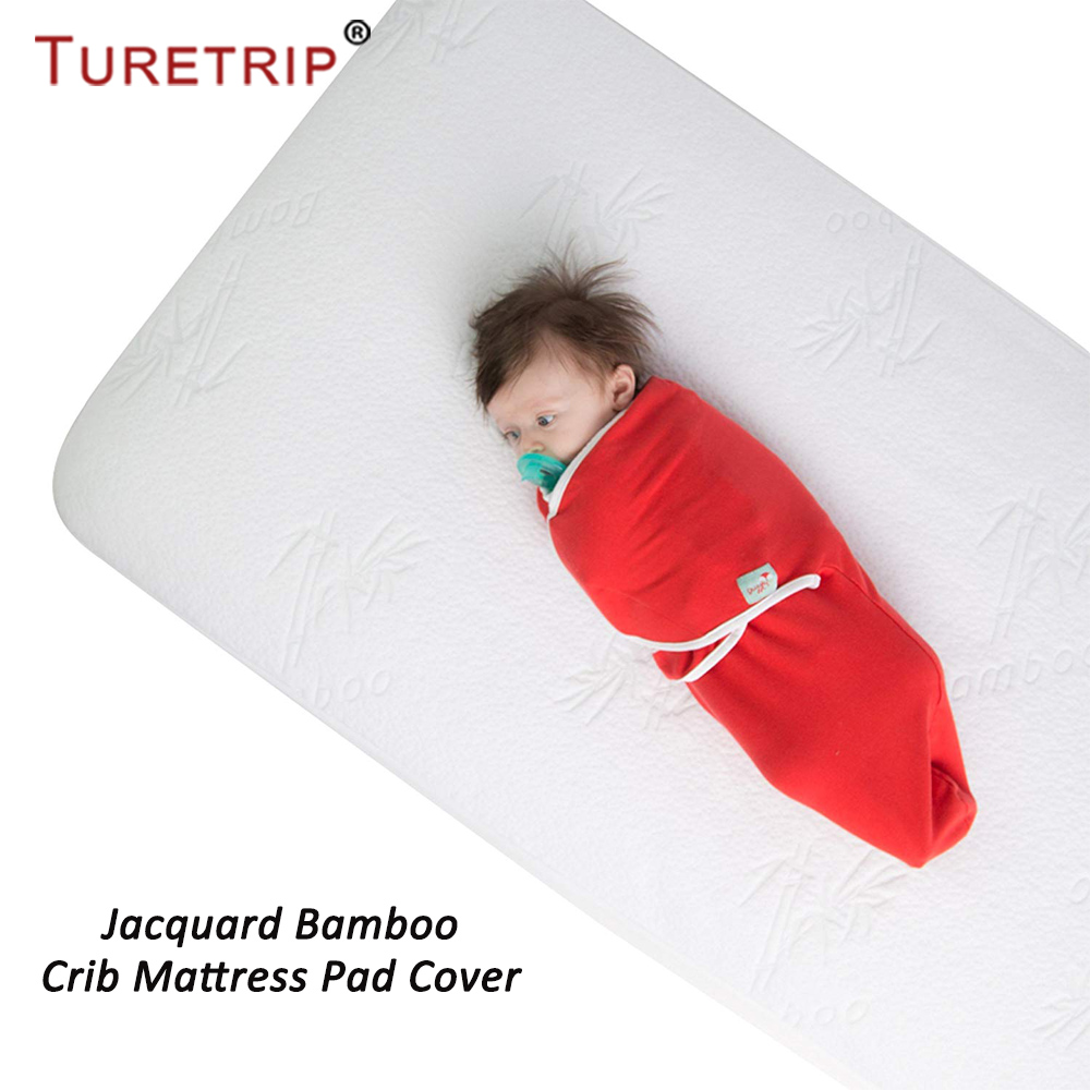 Turetrip Waterproof Crib Mattress Pad Cover Jacquard Bamboo Baby Mattress Protector Waterproof Bed Sheet For Crib Bed Cover 1PC