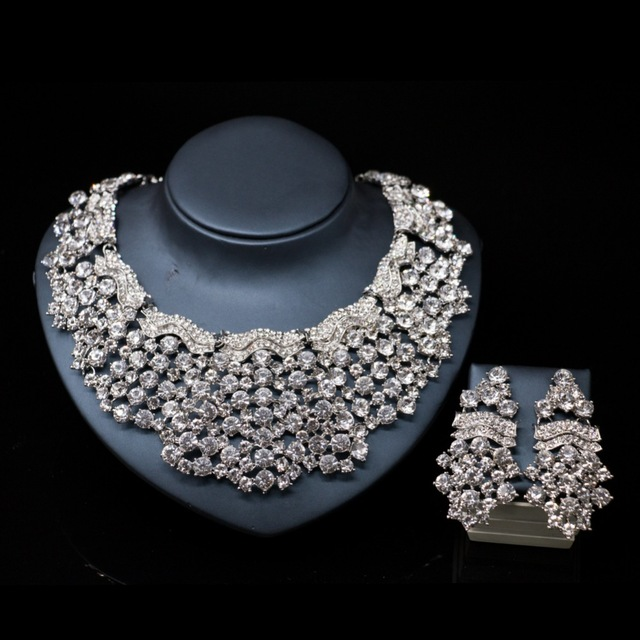 2017Hot sale silver color necklace and earrings font b jewelry b font sets afrocan bead crystal