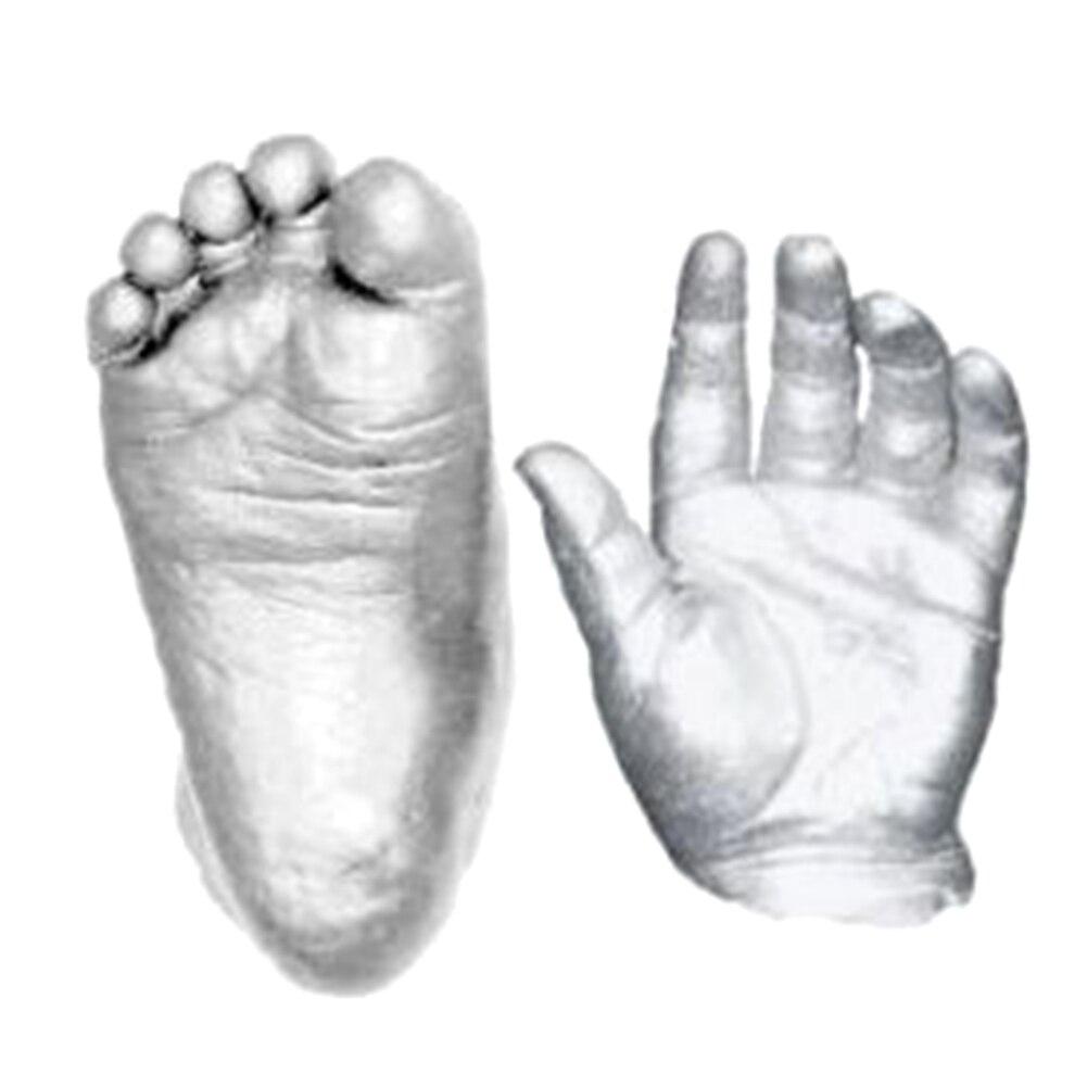 1 Set 3D Silver Color Plaster Handprints Footprints Baby Hand & Foot Casting Mini Kit Keepsake Gifts