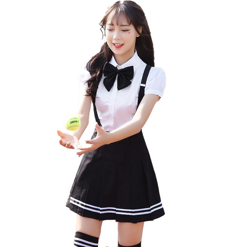 2018 Summer School Uniform For Girls Short Seeve Shirt  Plaid Skirt -6920