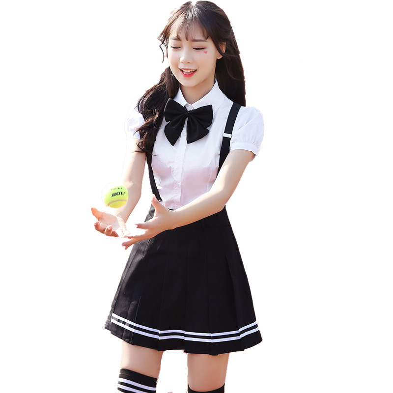 2019 Summer School Uniform For Girls Short Seeve Shirt + Plaid Skirt Japanese And Korean Students Uniform Sailor Suits