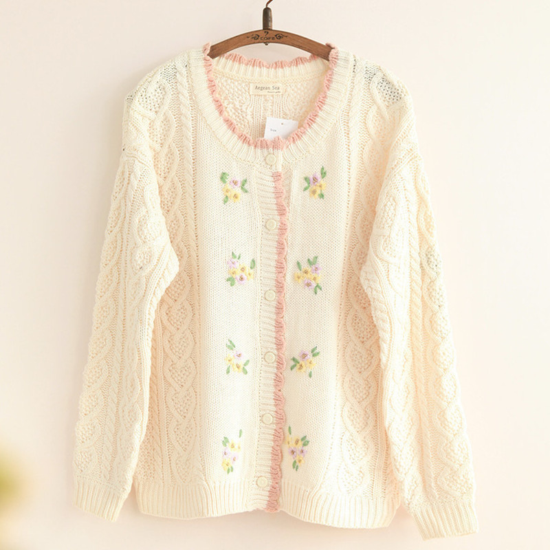 Us 2358 12 Offautumn New Women Knitted Sweater Cardigan Outwear Cable Knit Ladies Sweat Handmade Flowers Loose One Size Cute Sweater Mori Girl In