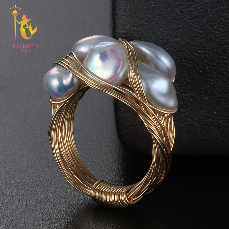 цена NYMPH Baroque Natural Pearl Wedding Bands For Women Fine Jewelry Freshwater Pearl Ring 7-8mm Trendy Birthday Gift Box J306