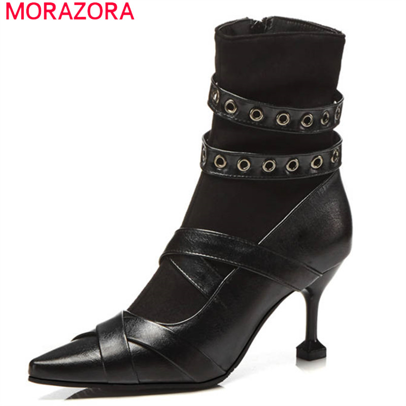 MORAZORA 2018 wholesale big size 33-48 ankle boots women pointed toe fashion punk boots zipper sexy thin high heels shoes MORAZORA 2018 wholesale big size 33-48 ankle boots women pointed toe fashion punk boots zipper sexy thin high heels shoes