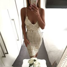 2017 summer Lady Sexy Party Night sequin dress Women V neck elegant vintage dresses Shinning Gold