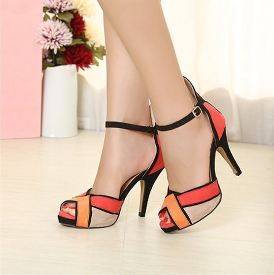 Hot 2016 Nova Moda Das Mulheres Sapatos Peep-toe Bombas Sexy Grosso sapato tira no tornozelo de salto alto vogue multicolor orange sandálias azuis 0