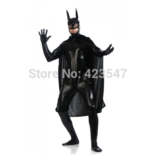 Factory Direct Wholesale Price Black Batman Begins Costume Batsuit Halloween Cosplay Party Prom Zentai Suit