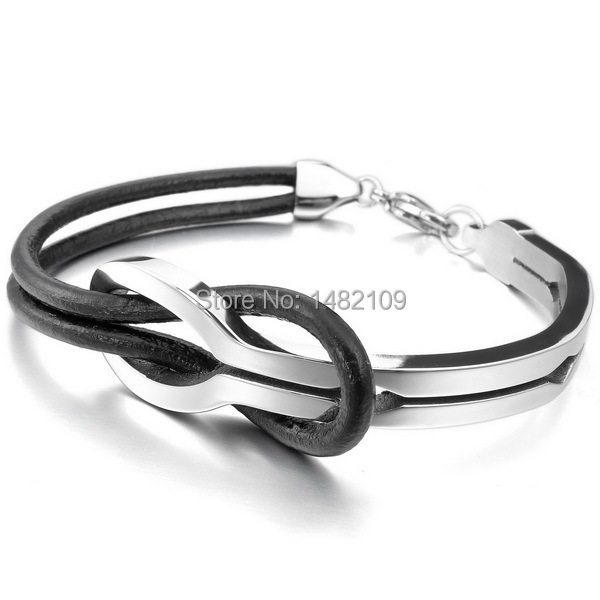 Infinity Love Genuine Leather Bracelet for Men and Women Stainless Steel Df6c8Jdk