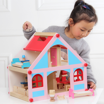 Big Size Children Wooden Doll House Toys With All Furniture Rooms