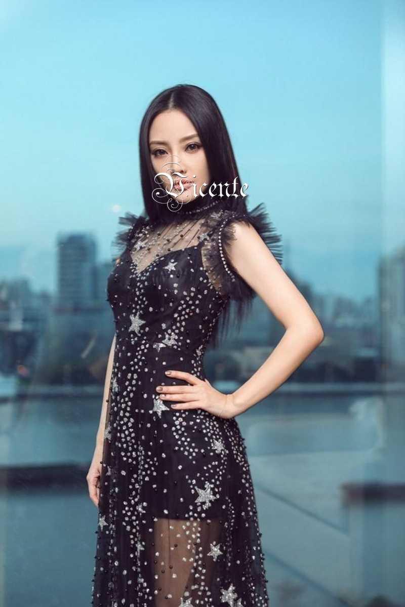 0ebfccf93c08e Vicente HOT Stylish Star Beads Maxi Long Dress Sexy Sheer Mesh Sleeveless  Wholesale Celebirty Party Wear Black Dress