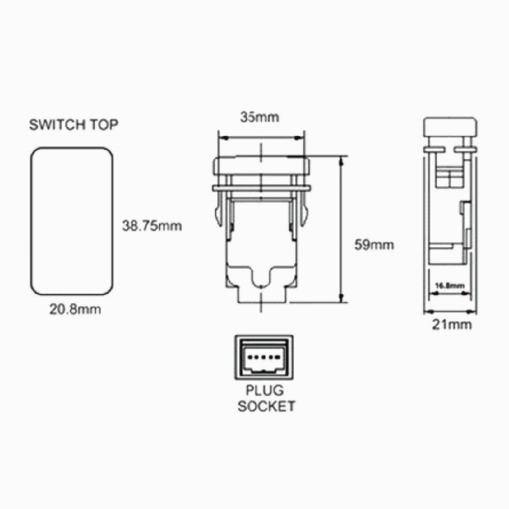 CARCHET Car Switches 12V Push Rear Light LED on-off Switch DC 12V-24V 5V / 4.2A for Toyota Prado 150 Landcruiser 200 RAV4