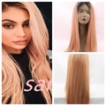 Ombre Pink Synthetic Hair wigs Heat Resistant Kanekalon Hair Long Straight  Ombre  pink Synthetic Lace Front Wig With Baby Hair