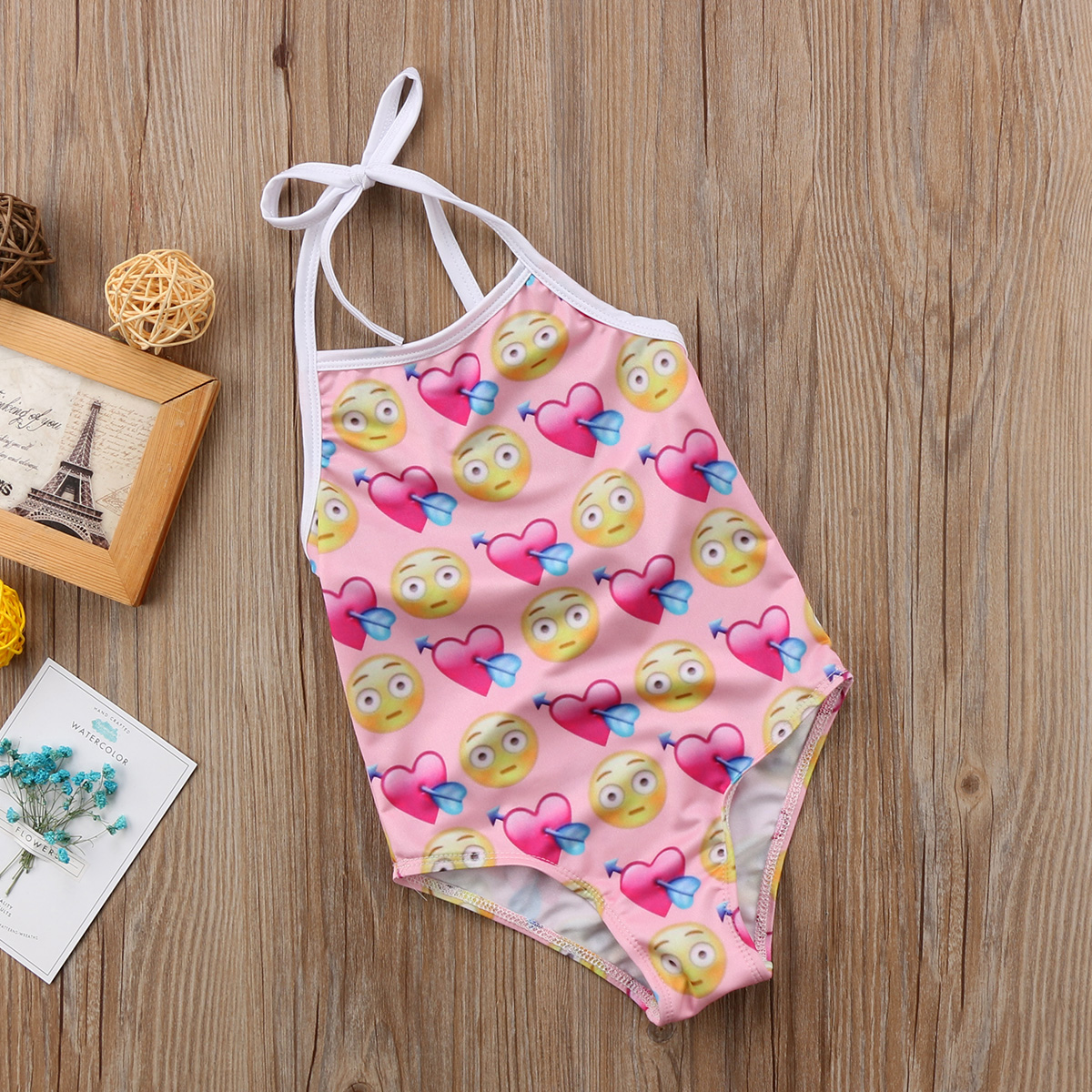 2018 Fashion Baby Romper Toddler Kids Baby Girl Emoji Romper Straps Swimsuit Beachwear Bikini Bath Outfit