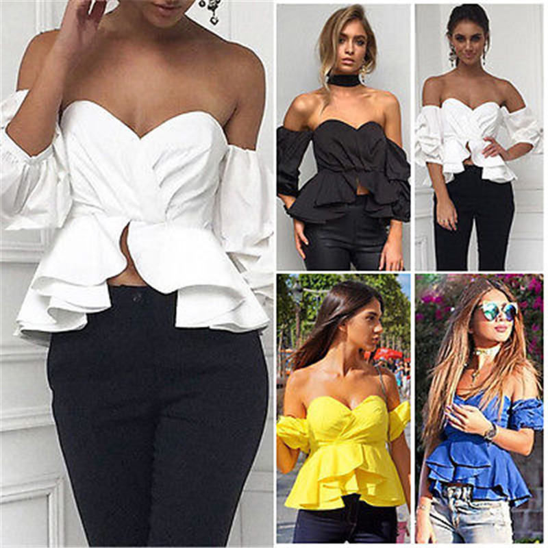 <font><b>Fashion</b></font> <font><b>Women</b></font> <font><b>Off</b></font> <font><b>Shoulder</b></font> Puff <font><b>Sleeve</b></font> Ruffle V-neck Peplum Crop Tops Summer Loose Strapless Casual Solid Color Shirts Blouse image