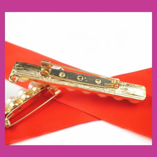300pcs/lot 64*8mm gold Pearl Strip Rhinestone Brooch,Wedding Pin For constume/Chair Sash/Invitation Card/DIY accessory