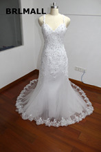 2017 Mermaid Lace Wedding Dresses with Appliques New Arrival Sexy Hollow Back Vintage Wedding Bridal Gowns Real Picture