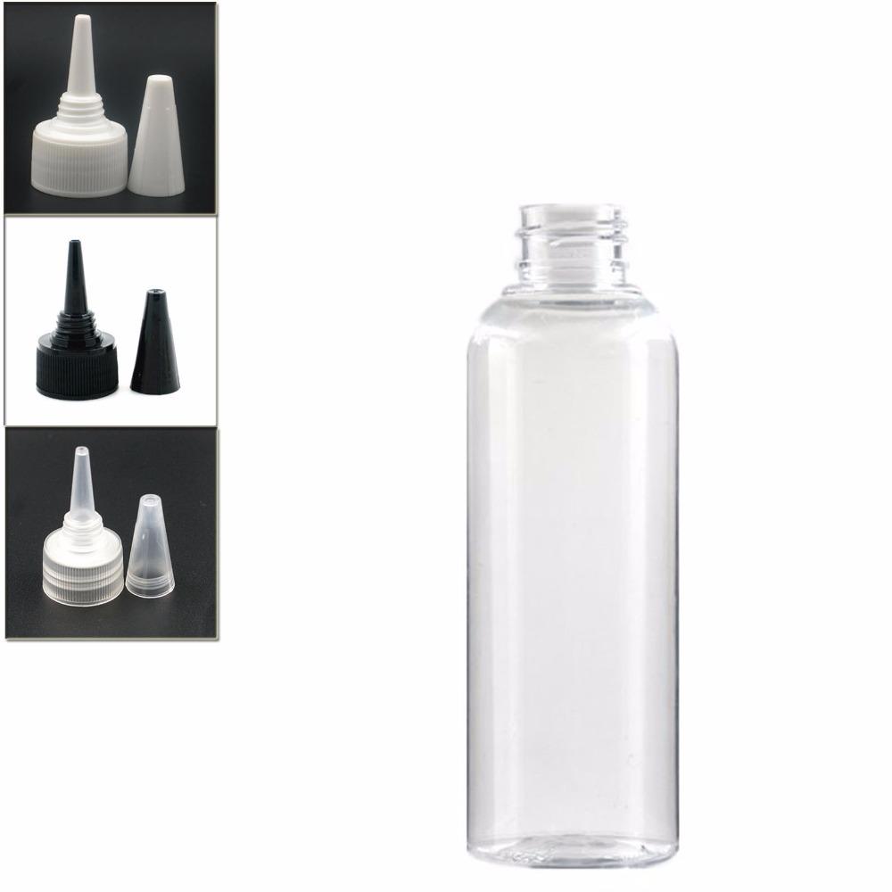 200ml Empty Plastic Bottle, Clear Pet Bottle With Transparent/white/black Twist Top Caps Pointed Mouth Top Lid