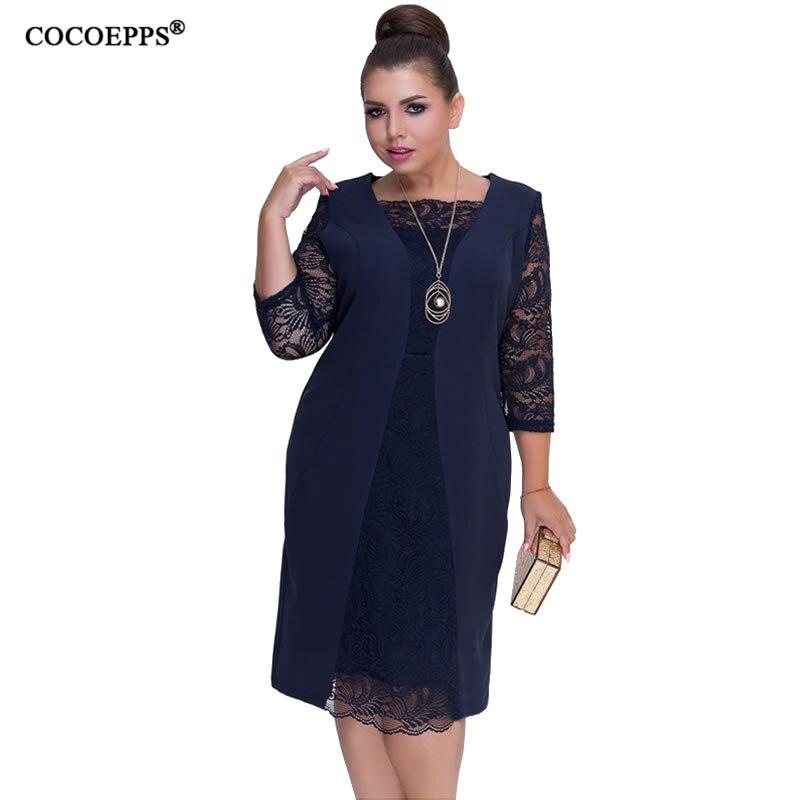 nouveau produit ac54a 36709 € 14.69 30% de réduction|COCOEPPS manches longues dentelle automne robe  grande taille 2019 nouvelles femmes hiver grande taille bureau robe vert  robe ...