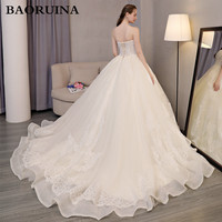 Long Train Ivory Beading Ball Gown Wedding Dress Tulls Long Floor Length Backless 2018 Real Picture