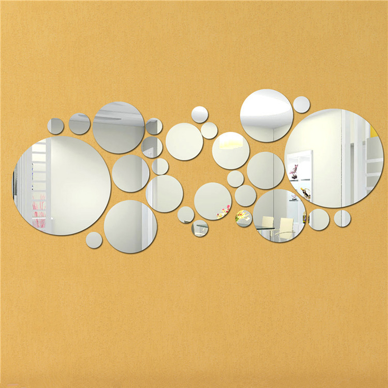 Modern Silver Acrylic 3D Mirror Wall Sticker Circle Mural ...