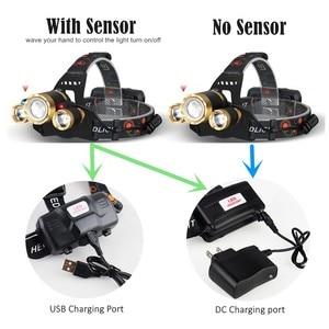 Image 2 - ZOOM LED Scheinwerfer Fischerei Scheinwerfer 3 * XML T6 USB Aufladbare Sensor Lampe Wasserdichte Kopf Taschenlampe Kopf Lampe durch 18650
