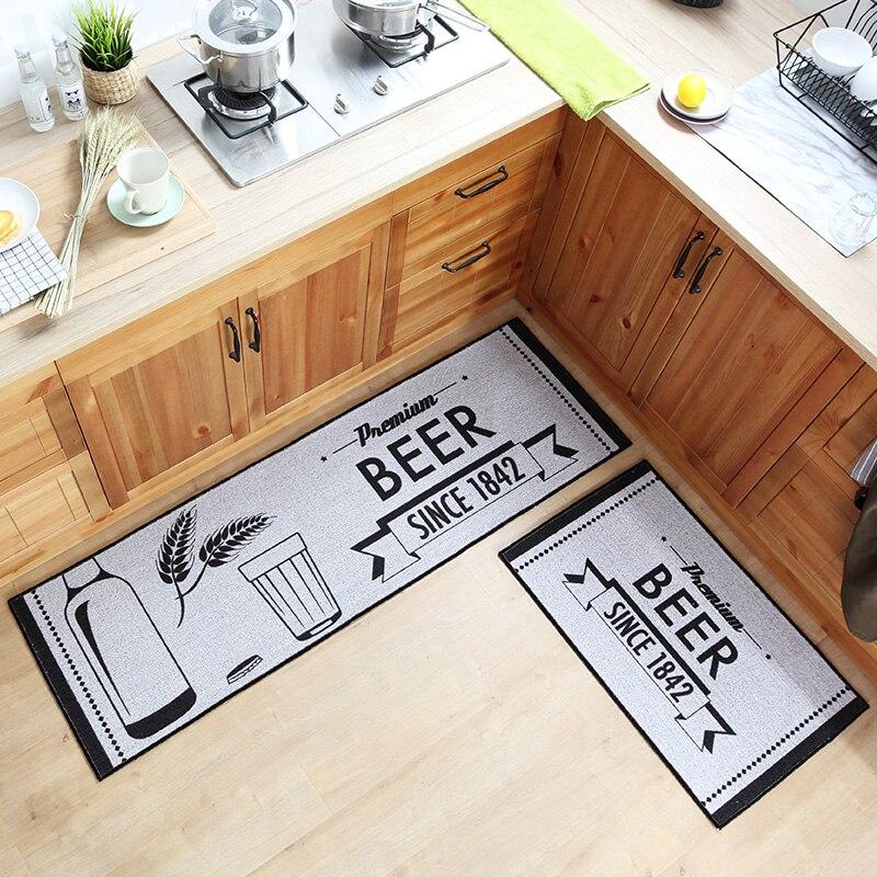 50x80CM+50x160CM 2Pcs Kitchen Floor Mats Polyester Cotton Oil Control Water Absorbing Antiskid Mat Kitchen Rug