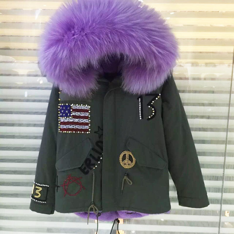 USA beading short style women Army Green jacket faux fur lining coat Mrs. raccoon fur collar jacket