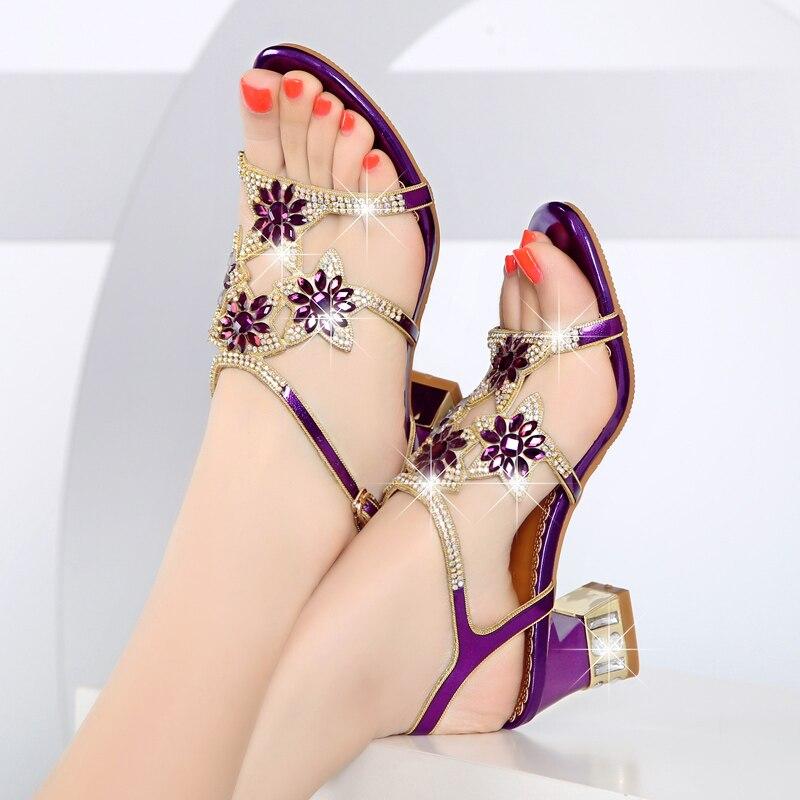 GKTINOO Summer Rhinestone Thick Heels Women Sandals Shoes Sexy Open Toe Shoes Woman High Heels Sandals