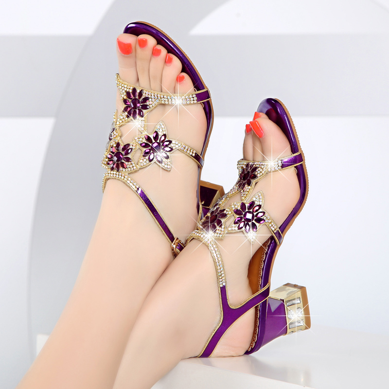 GKTINOO Summer Rhinestone Thick Heels Women Sandals Shoes Sexy Open Toe Shoes Woman High Heels Sandals Platform Big Size-in High Heels from Shoes    1