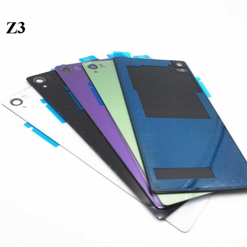 جديد الباب الخلفي البطارية عودة الإسكان زجاج استبدال غطاء حالة لسوني اريكسون Z1 Z2 Z3 Z3 المدمجة البسيطة مع شعار