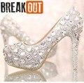 2016 Новых Мужчин Высокие Каблуки Женщины Насосы Свадебная Обувь Высокие Каблуки Кристалл Горного Хрусталя Женская Обувь Высота 11 & 14 СМ