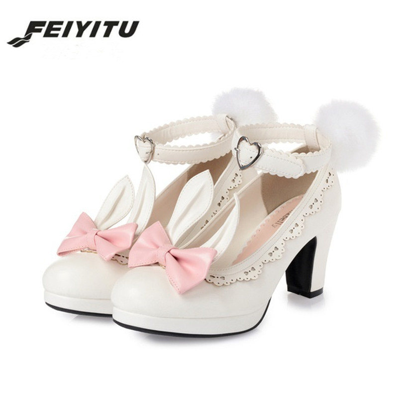 Feiyitu  Sweet Princess Party Shoes Solid Leather Women Pumps Cosplay Rabbit Thick Heels Buckle Straps Round Toe Platform LolitaFeiyitu  Sweet Princess Party Shoes Solid Leather Women Pumps Cosplay Rabbit Thick Heels Buckle Straps Round Toe Platform Lolita