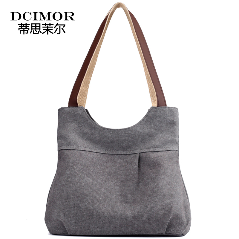DCIMOR Brand High Quality Canvas Handbag Women Large Capacity Shoulder Bag Female Shopping bags Tote Package Fashion travel bag