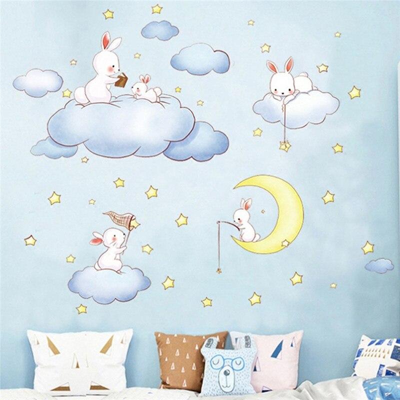 Dessin Animé Nuages Blancs Lapin Stickers Muraux Pour Enfants Chambres Bébé  Chambre Wereldkaart Décor Lune Et étoiles Stickers Muraux Pour Filles Garçon