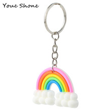 Creative color colorful rainbow keychain Cloud silicone Girl fashion accessories Bag ornaments