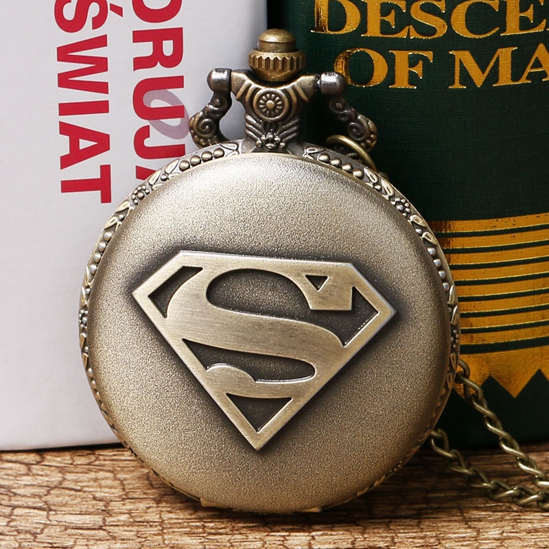 Free Shipping Antique Bronze Superman Theme Pocket Watch Retro Fob Watch With Chain Necklace Gift For Christmas Birthday