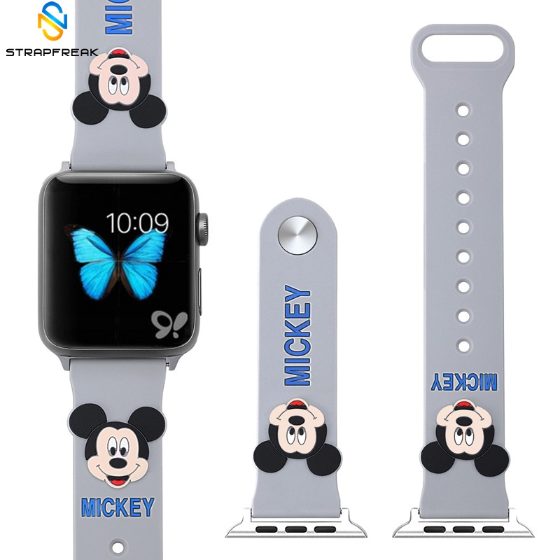 Cute Mickey Mouse silicone strap for apple watch band 44 40 38 42 mm for iwatch 1/2/3/4 Replaceable AccessoriesCute Mickey Mouse silicone strap for apple watch band 44 40 38 42 mm for iwatch 1/2/3/4 Replaceable Accessories