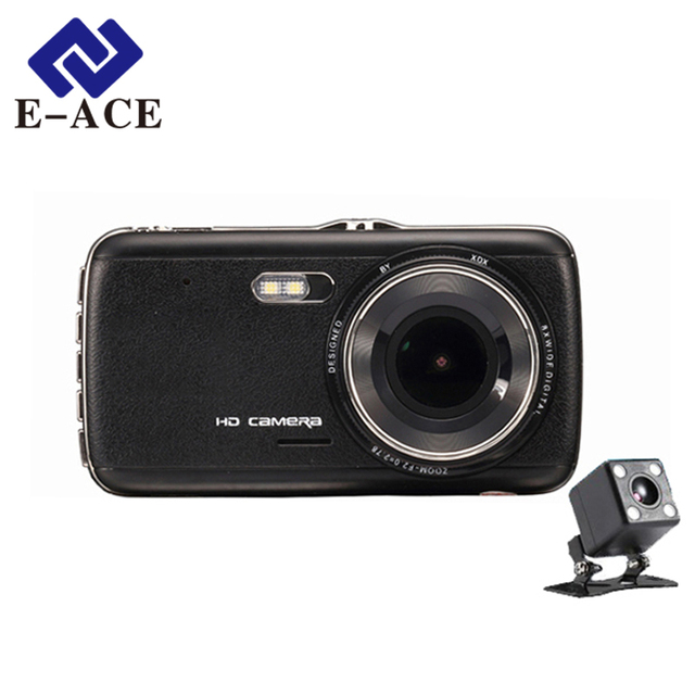 E-ACE Auto Camera Dual Lens Car Dvr Recorder Front Car Distance Warning Full HD Night Vision Automobile Dashcam Registratory