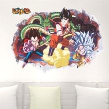 Cartoon Dragon Ball 3d Vivid Wall Sticker anime dragon Goku vegeta murals smashed wall decorative kids bedroom home decor decal