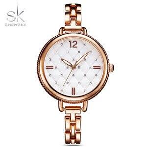 Image 5 - Shengke Relojes de pulsera de cuarzo para Mujer, Reloj femenino informal, de lujo, dorado, con diamantes de imitación, resistente al agua, 2020