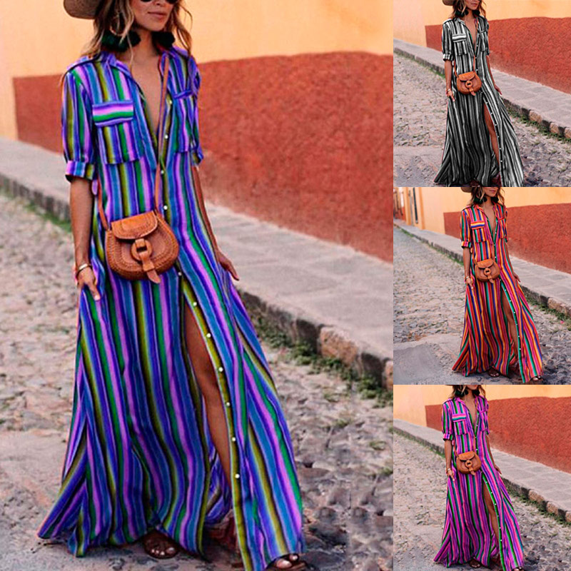 Women Boho Colourful Striped V-Neck Long Maxi Dress for Summer FDC99