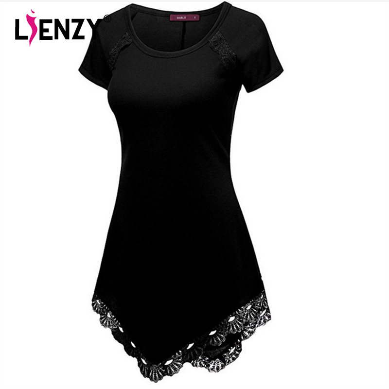 LIENZY Summer Lace Dress Women Elegant A-Line Mini Dress Women Vintage Short Sleeve Plus Size Ruffles Sexy O Neck Summer Dresses