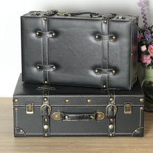 Black american vintage storage wooden box leather handbag soft decoration
