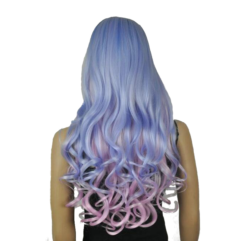 StrongBeauty Womens Wigs Cosplay Costume Party Neat Bang Long Wavy Blue, Purple, Pink Highlight Mixed Color Full Synthetic Wig